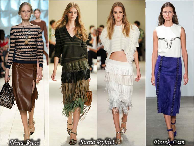 Fuste la moda vara 2015 din piele si piele intoarsa