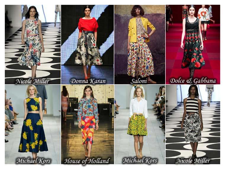 Fuste cu flori la moda vara 2015