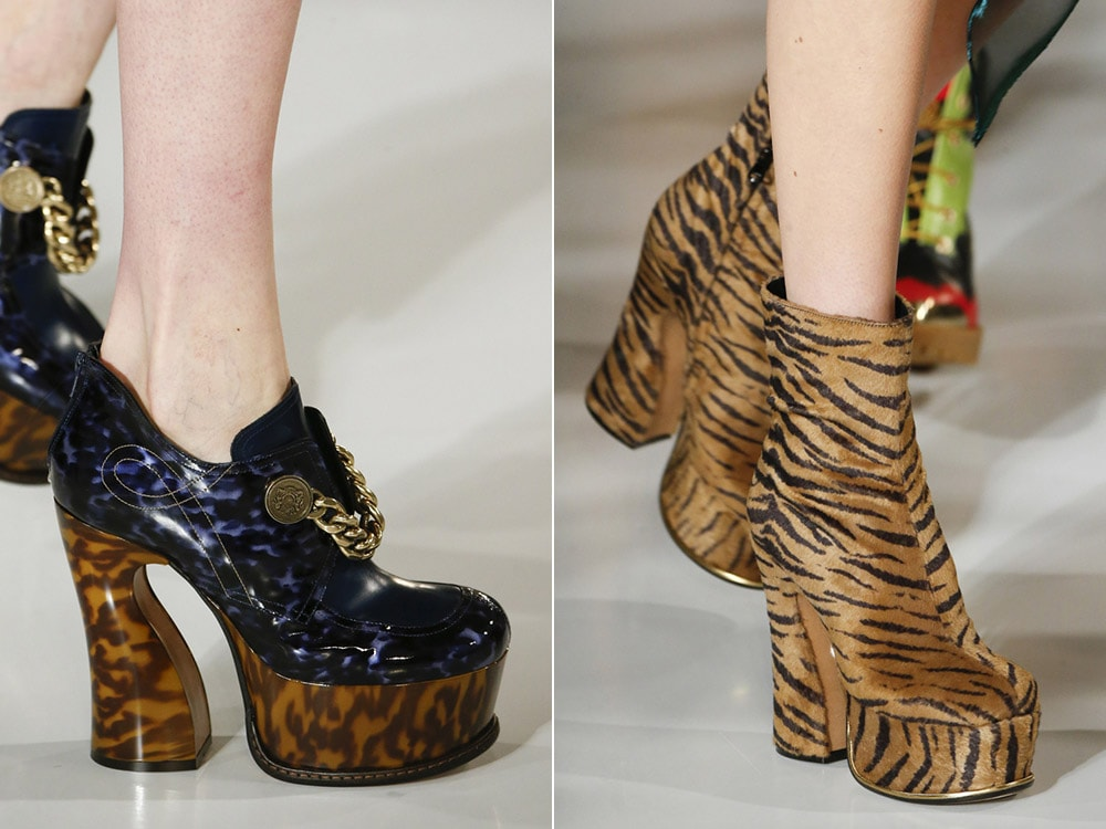 Footwear with comfortable heel and animal print