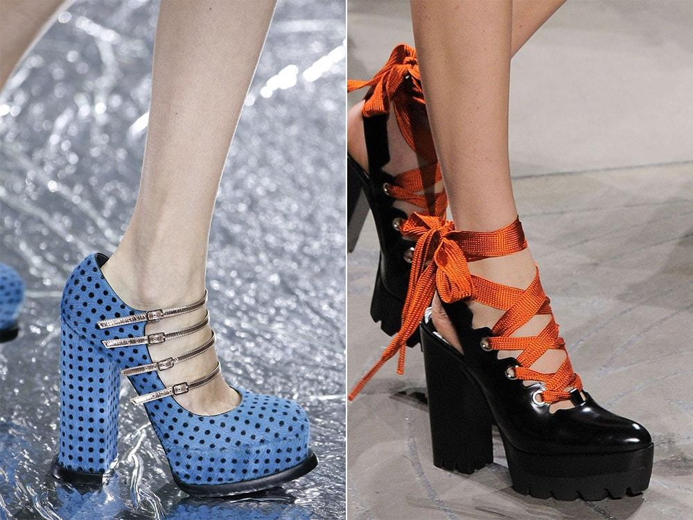 Pantofi cu toc gros si platforma