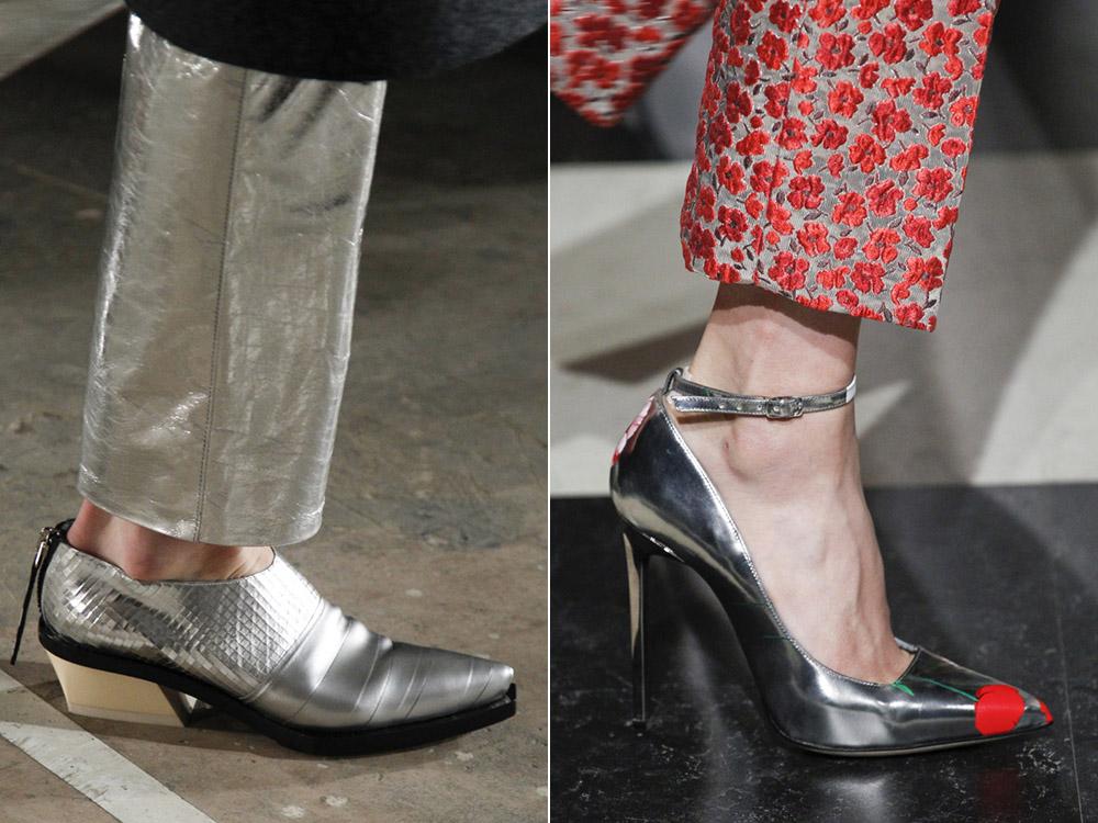 Pantofi dama eleganti culoare metalic