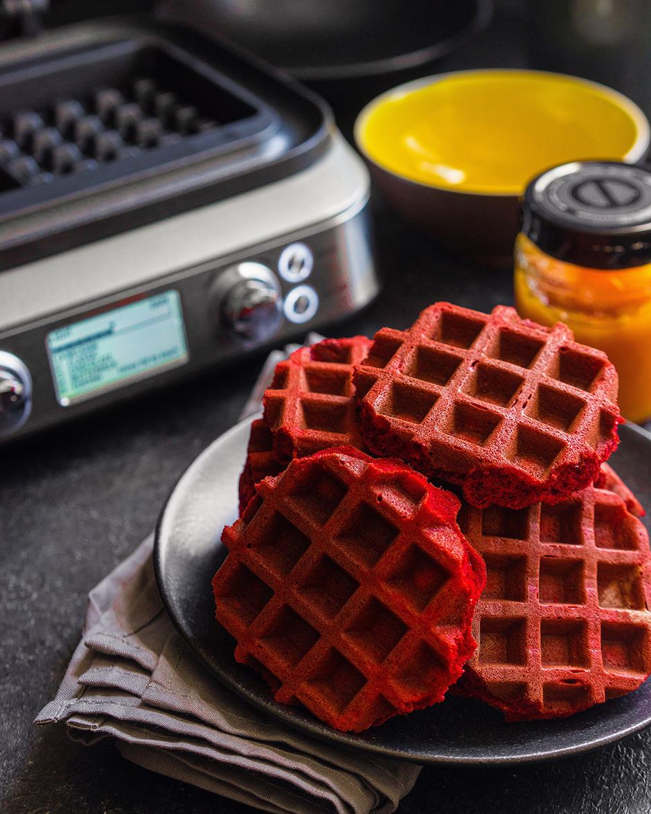 12 Red velvet waffles