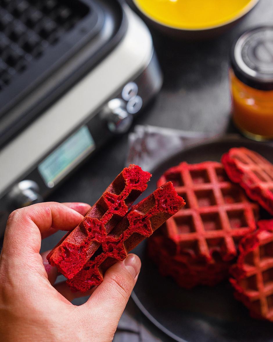 13 Red velvet waffles