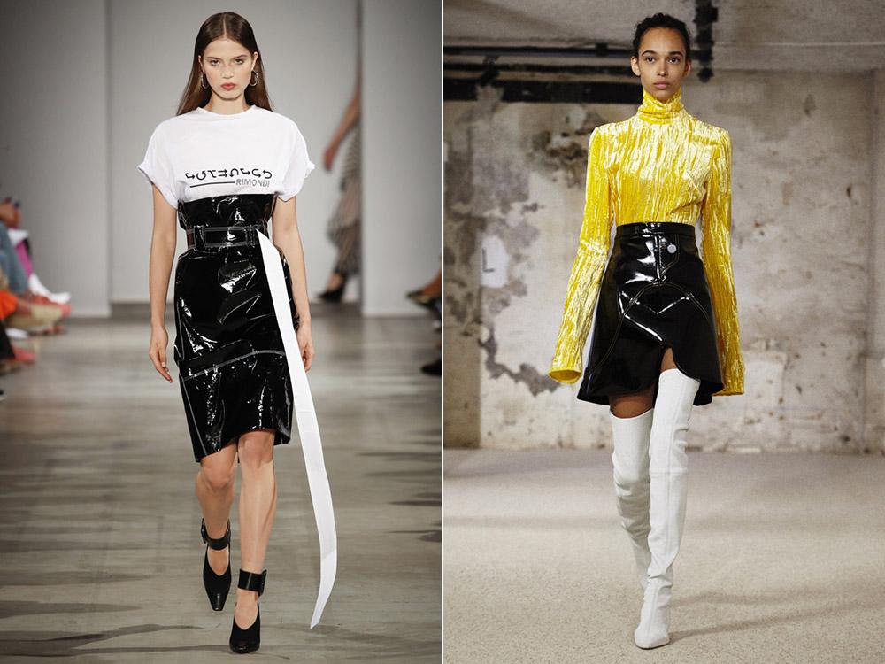 Fuste negre din piele la moda in 2018