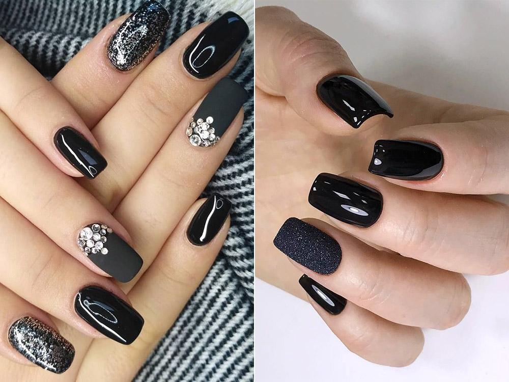 Modele unghii cu gel negru stralucitor 2018