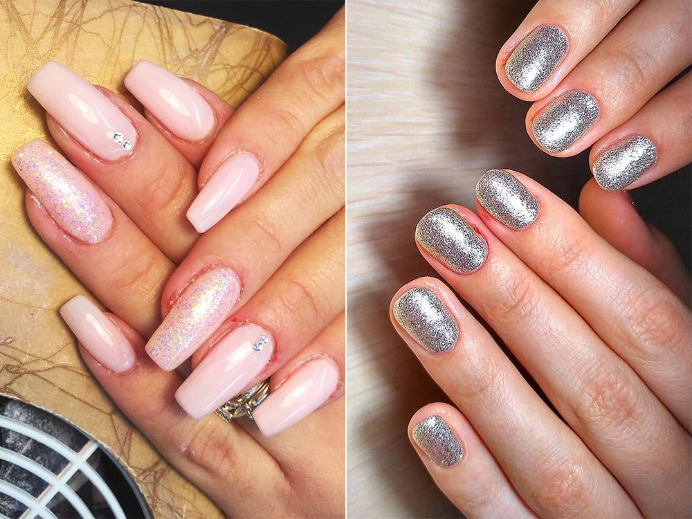 Unghii cu gel 2018 cu sclipici roz si argintiu