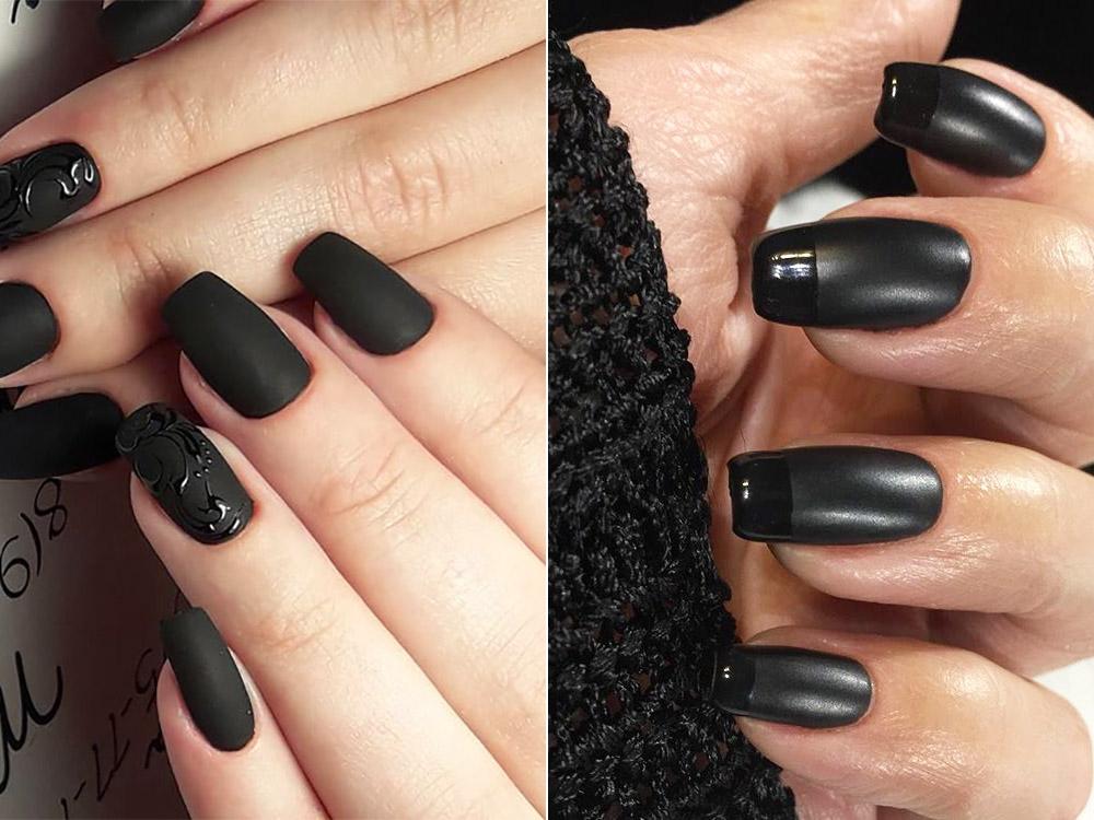 Unghii cu gel negre modele 2018