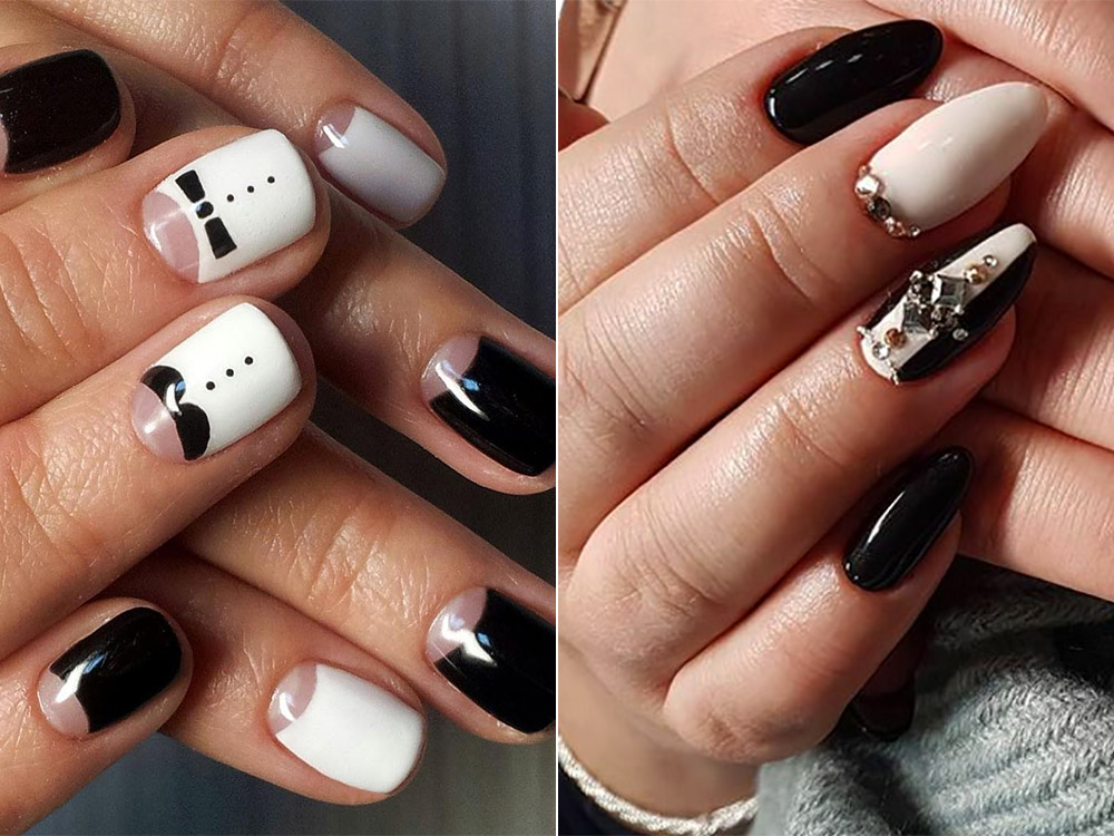 Manichiura eleganta 2018 alb negru